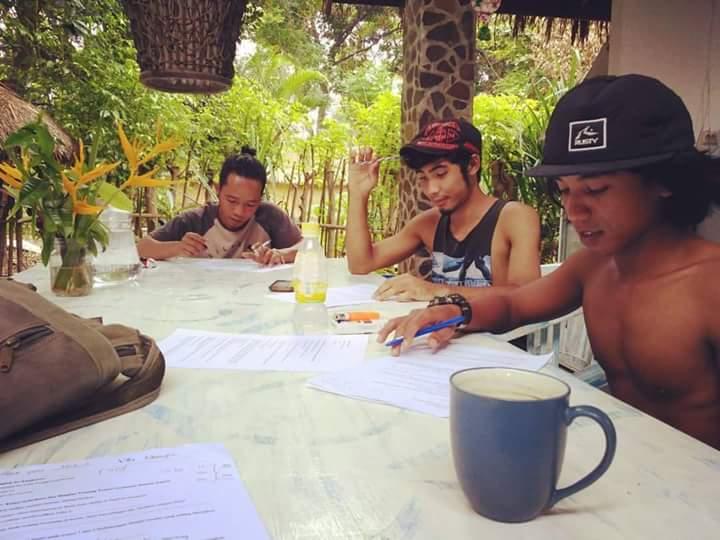 Local boys learning english on Gili Air