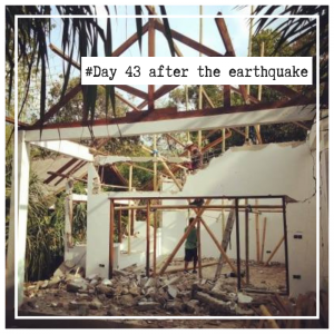 damaged house after earthquake on Gili Air