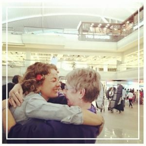 Emotional reunion at the airport