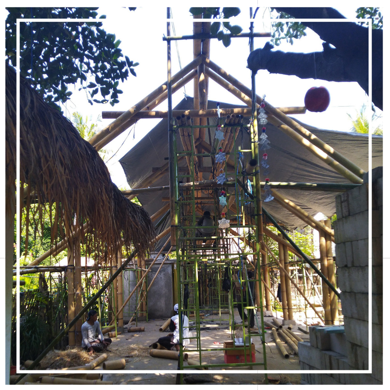 Building a bamboo house in Indonesia