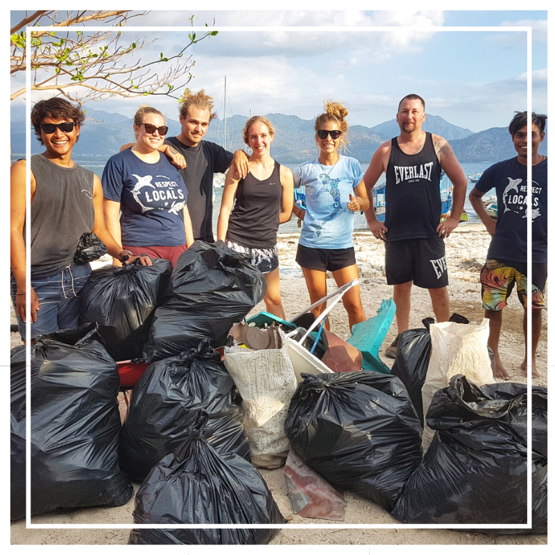 Beach clean up on Gili Air