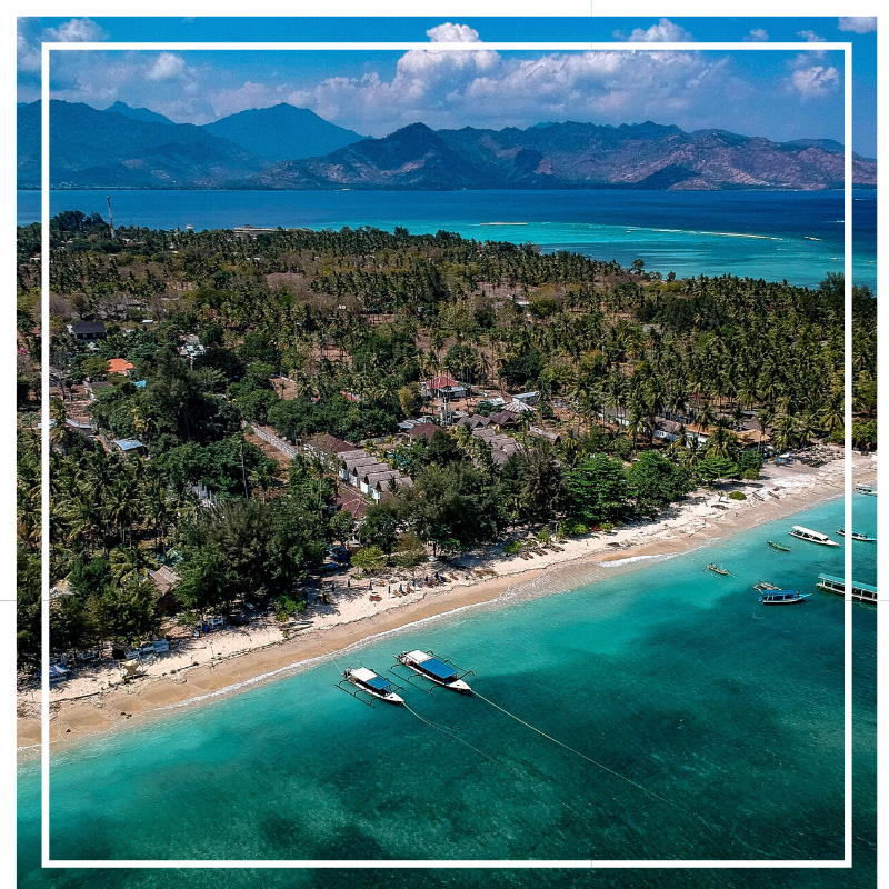 Drone shot of Gili Air - One of the Gili Islands in Indonesia